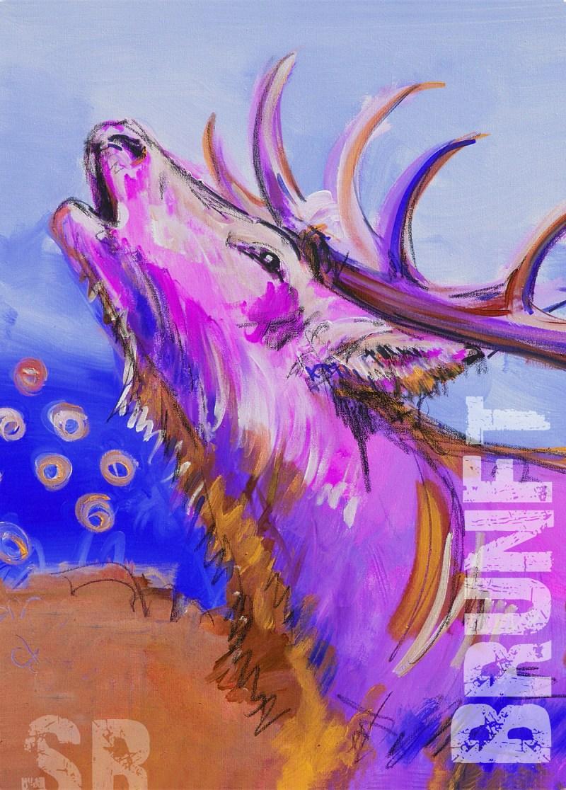 Kunstdruck, Hirsch Pop Art auf Leinwand nach Original Malerei von Stefanie Rogge, moderne zeitgenössische Kunst