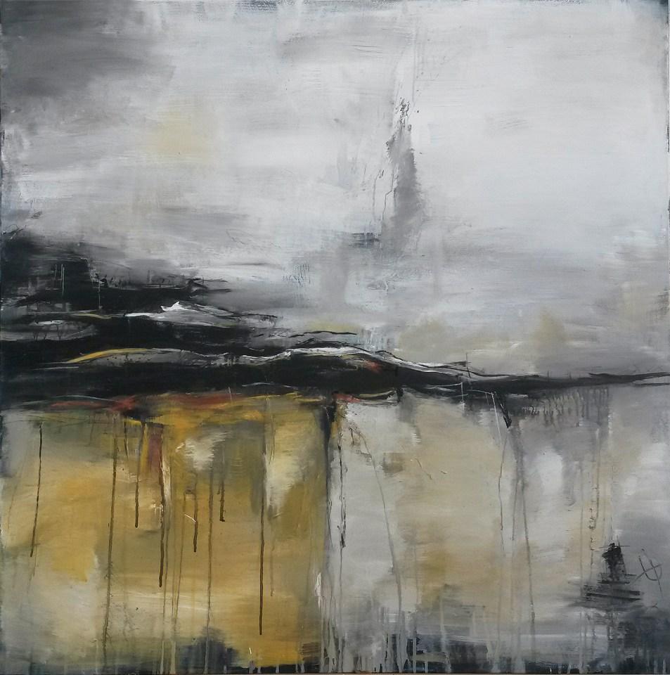 abstrakte Malerei kaufen, warme Naturtöne auf großformatiger Leinwand