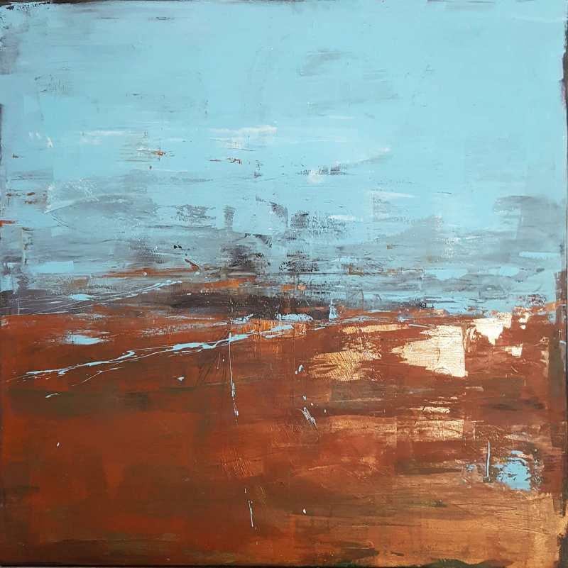 Abstrakte expressive Malerei - Bronze und Blau
