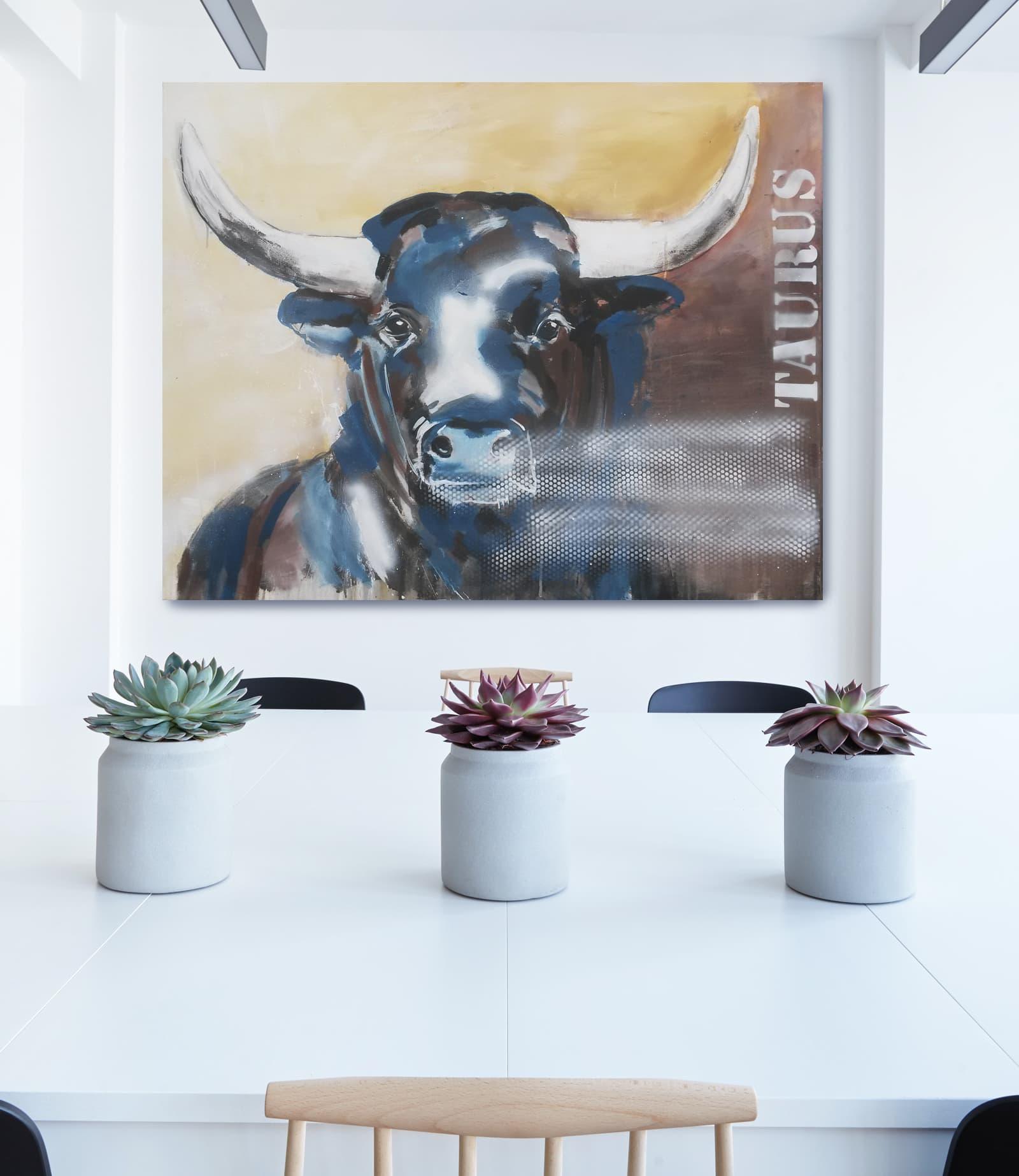 taurus 2 unikat auf leinwand stier gem lde atelier stefanie rogge. Black Bedroom Furniture Sets. Home Design Ideas
