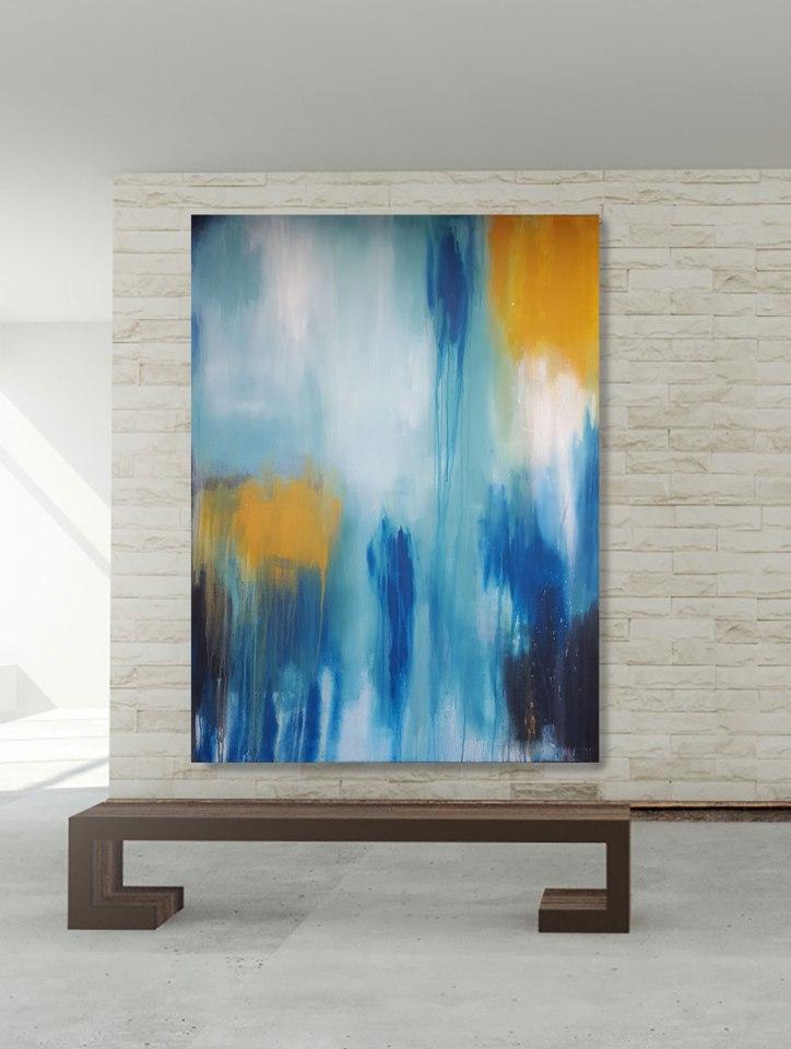 Abstrakte moderne Malerei auf großformatiger Leinwand