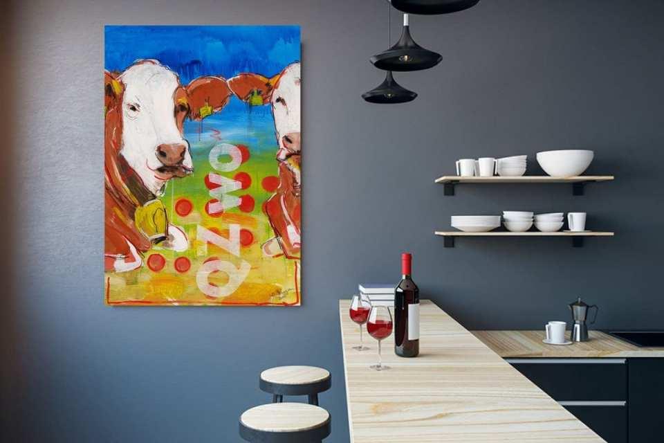 Küchenbilder, Kuh Kunst Druck auf Leinwand