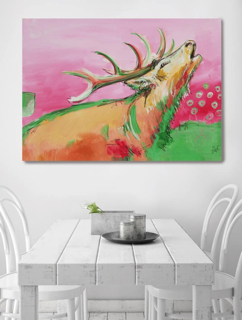 Wandbild Hirsch in Pink