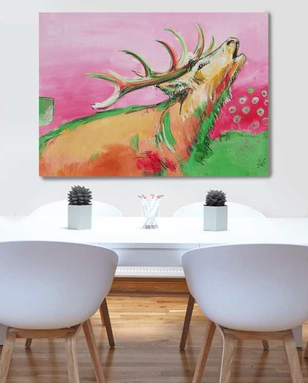Wandbild Hirsch, moderne Malerei, bunt, Wohnzimmerbild, Bild für Büro