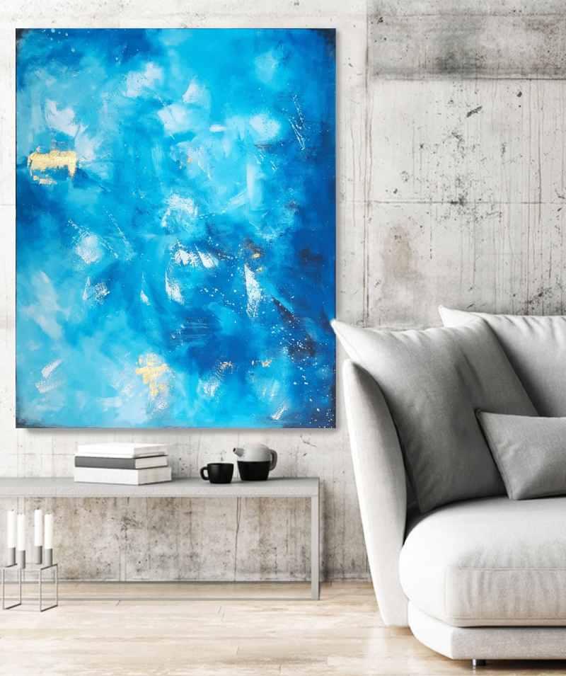 Gemälde in Blau und Gold