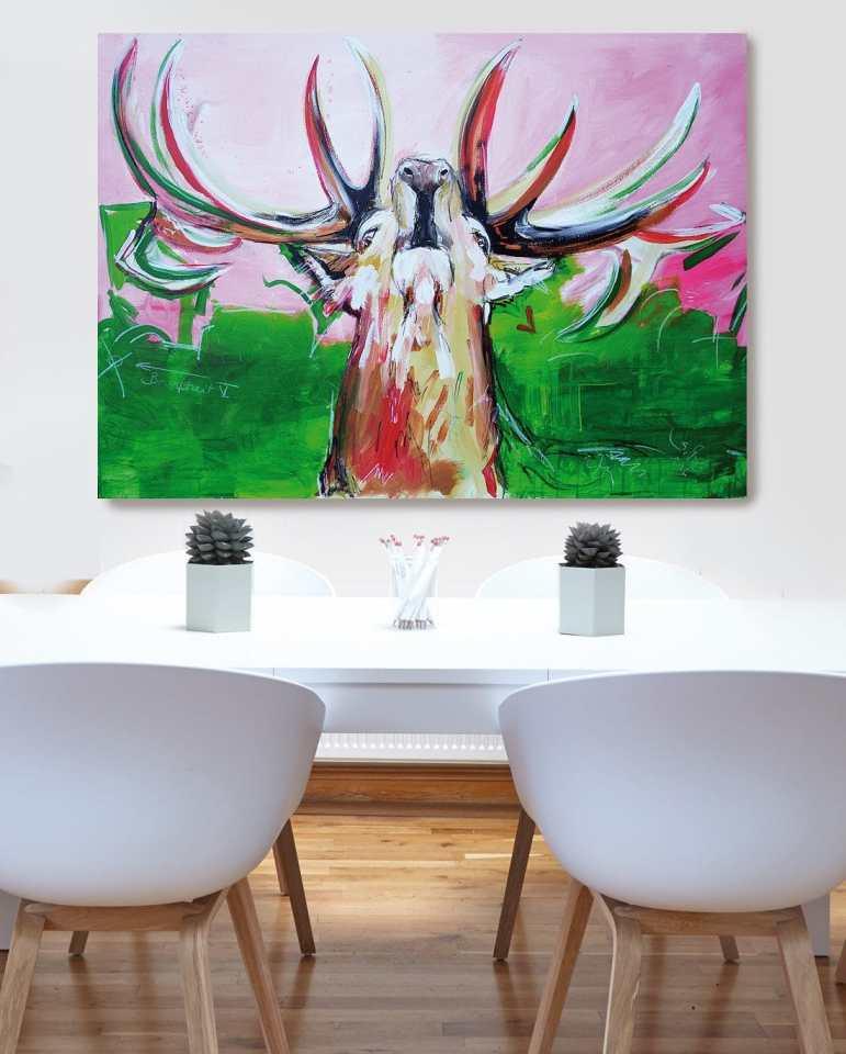 Hirsch Bild auf Leinwand, moderne Malerei