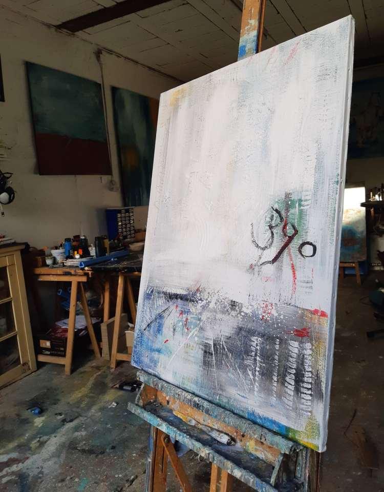 39° abstraktes strukturiertes Gemälde, moderne Gemälde on Stefanie Rogge