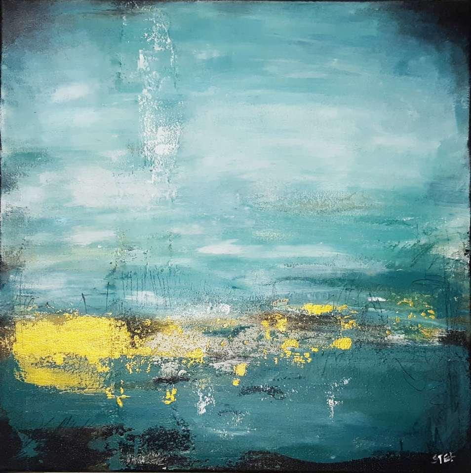 OZEAN FARBEN-Original abstraktes Gemälde, strukturiert, in den Farben von Küste und Meer, Colorfield, von Stefanie Rogge