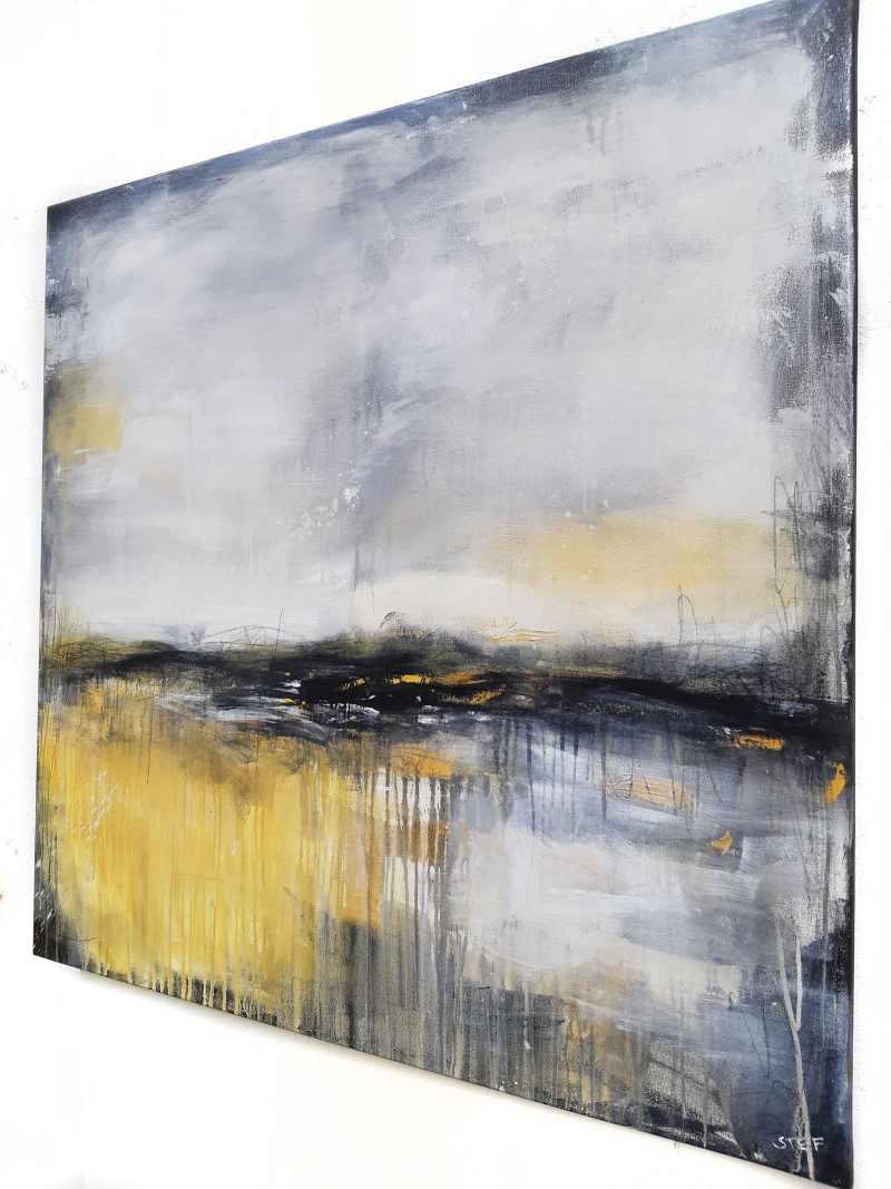 Acrylbild, Abstraktes Bild in Grau und Ocker, WEGE UND SPUREN zeitgenössische Malerei von Stefanie Rogge