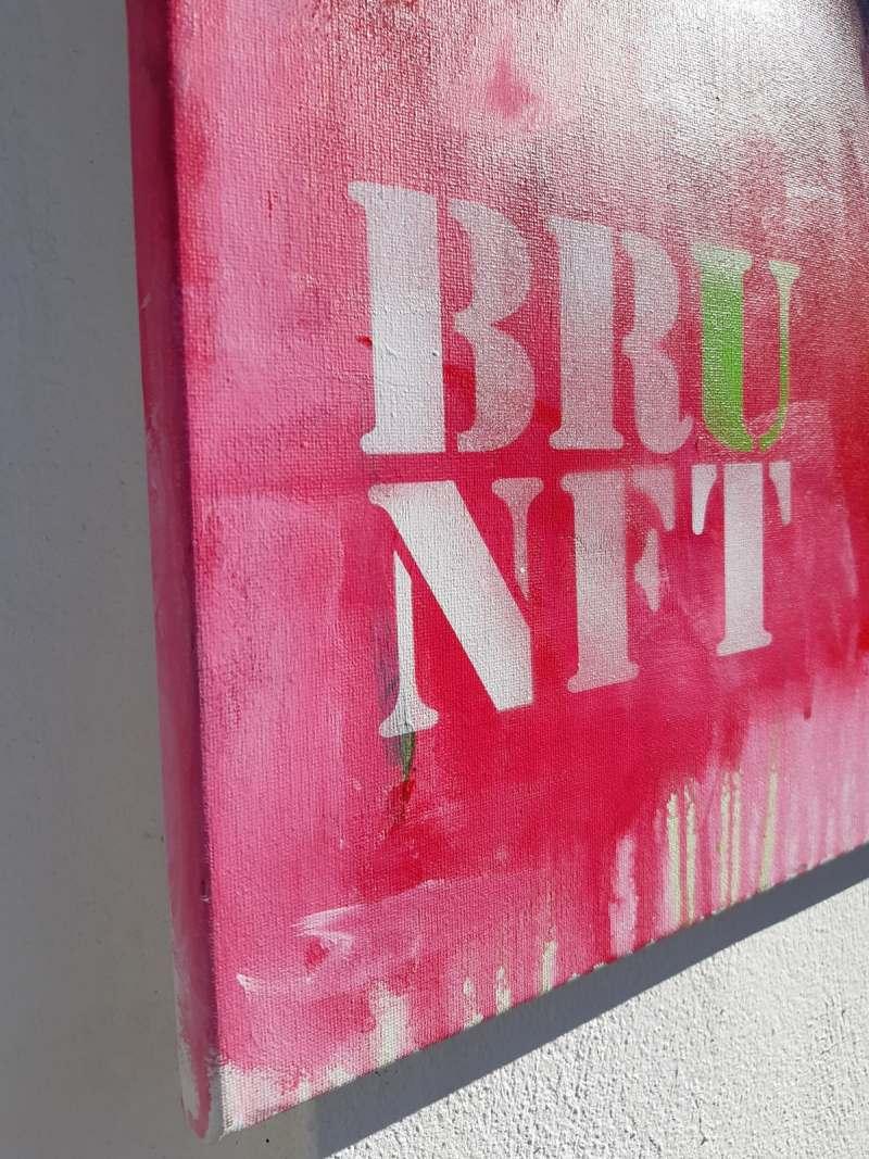 Detail Hirsch Gemälde modern 'BRUNFT' Original von Künstlerin Stefanie Rogge, großformatige Malerei PopArt in Neon, Typo, käuflich