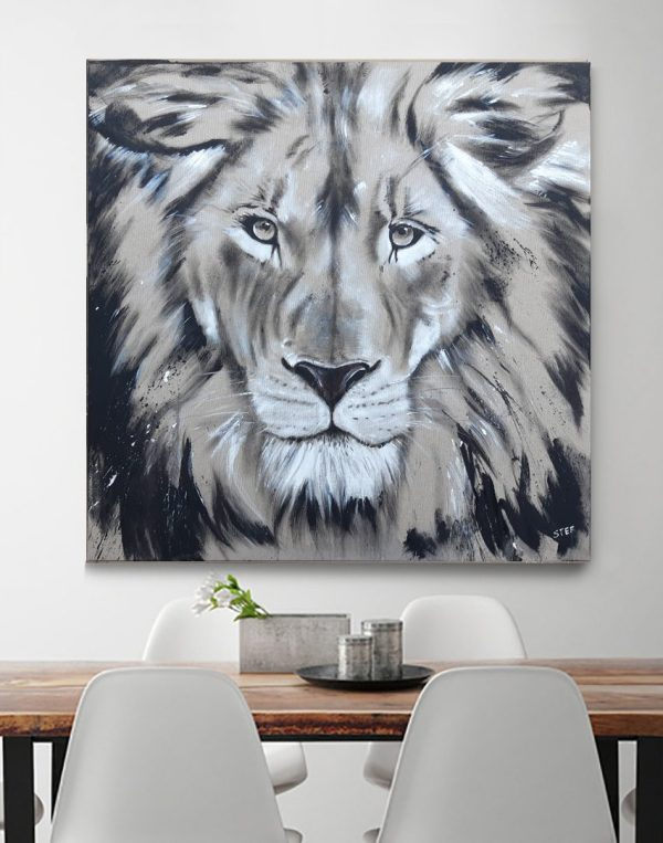 Löwe auf Leinwand, modernes Gemälde, Original von Künstlerin Stefanie Rogge, großformatige Malerei, käuflich