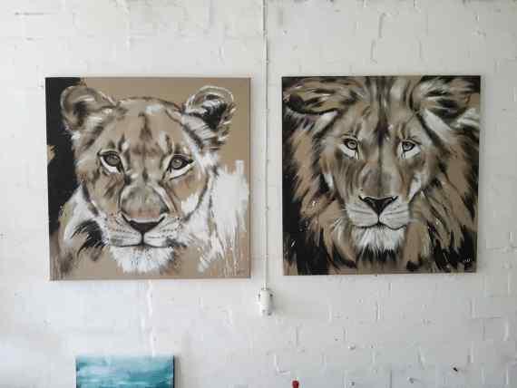 Großkatzen Gemälde Löwe und Löwin - Portraits von Stefanie Rogge - Unikate, zeitgenössische Kunst direkt im Atelier kaufen