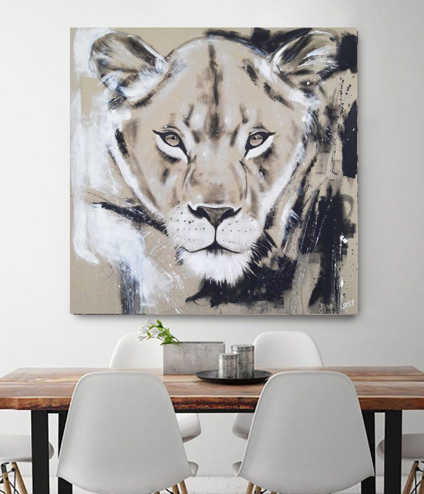 Wandbild Gemälde Löwin