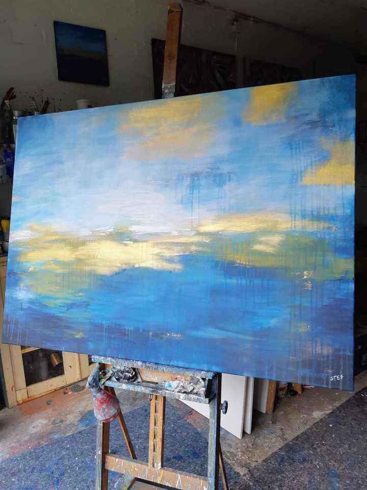 großes abstraktes Leinwandbild, maritim zeitgenössisch von Künstlerin Stefanie Rogge, direkt ab Atelier kaufen