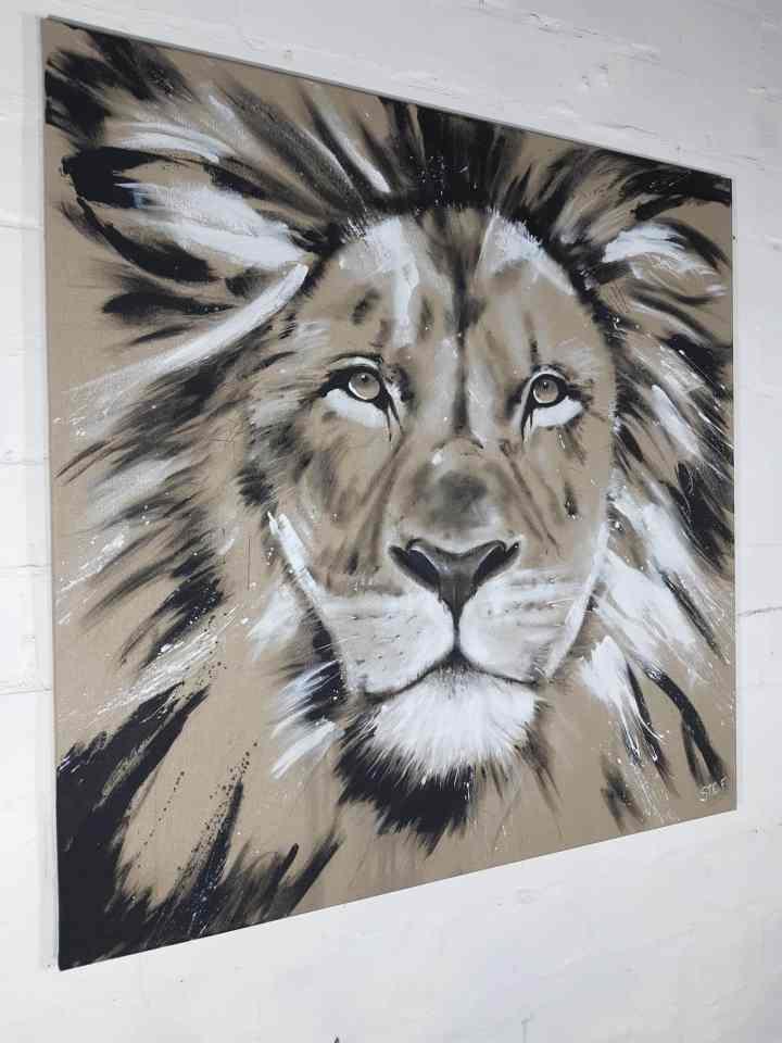 Löwe, Bild Löwenkopf, Gemälde. Original von Künstlerin Stefanie Rogge, großformatige Malerei, käuflich