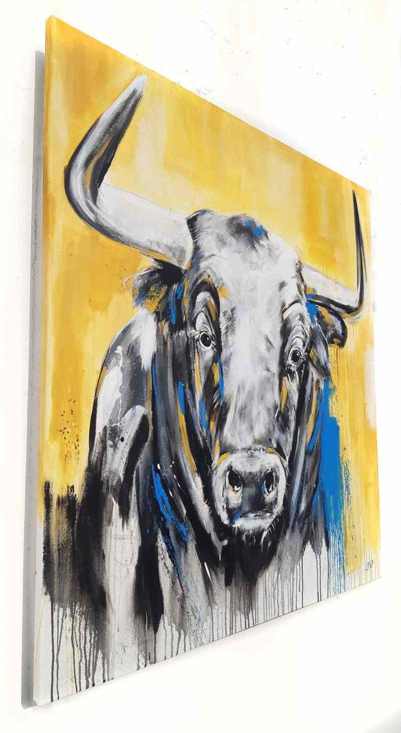 Gemälde auf Leinwand, Portrait Stierkopf, Taurus #5 von Stefanie Rogge