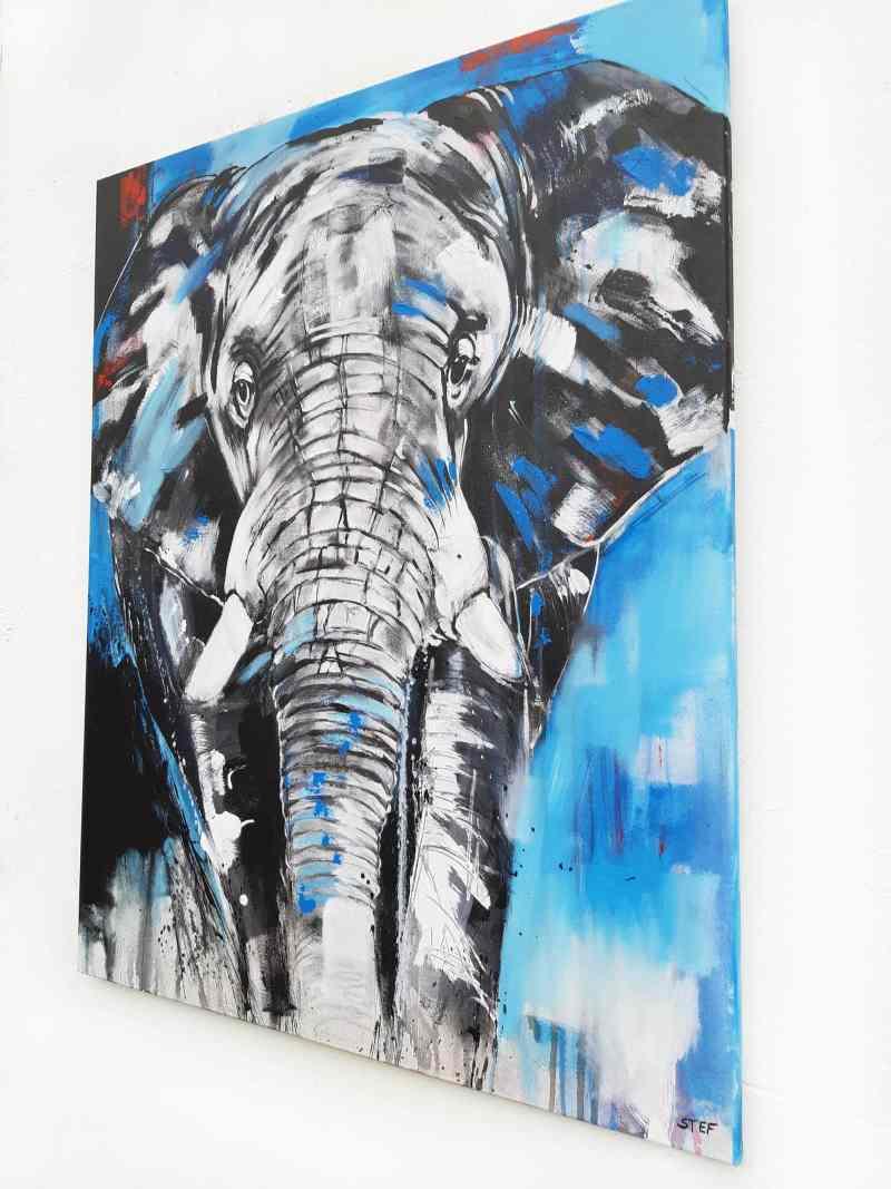 Gemälde eines Elefantenkopfes, Gemälde Elefant, buntes Elefantenbild gemalt direkt vom Künstler kaufen
