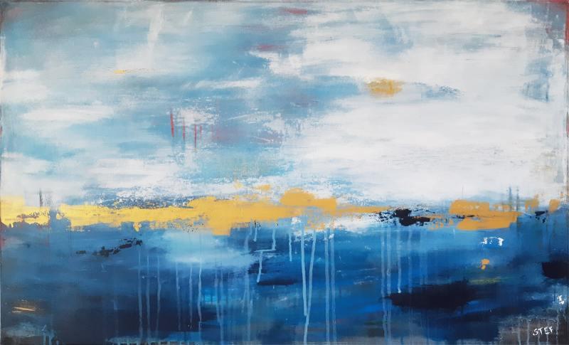 Gemälde Blau Gold abstrakt