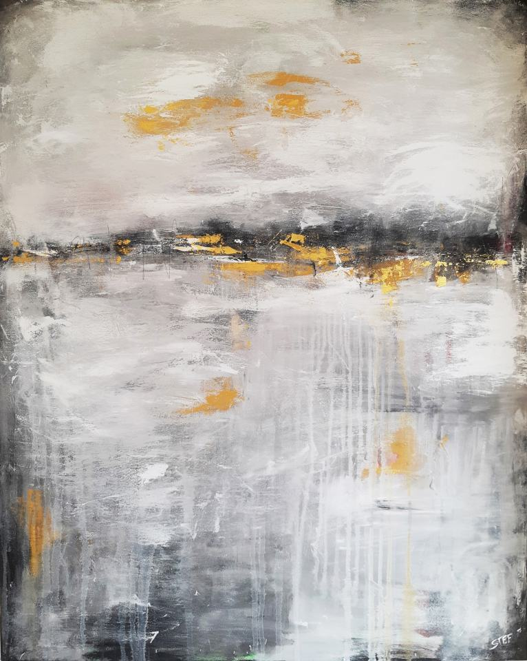 Leinwandbild modern in Grau und Gold