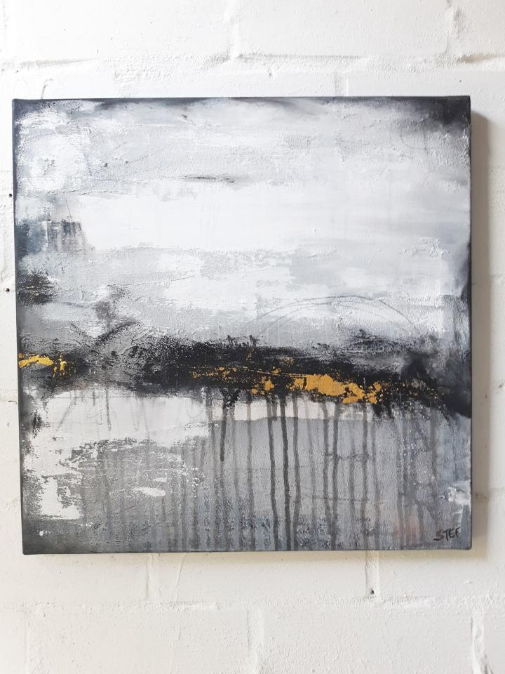 """Abstraktes Gemälde """"Wege und Spuren"""" von Stefanie Rogge"""
