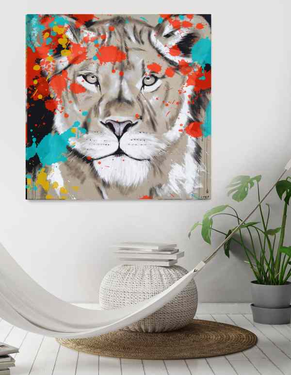 Löwin bunt Leinwand