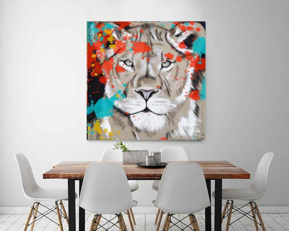 Löwin Wandbild Kunst bunt