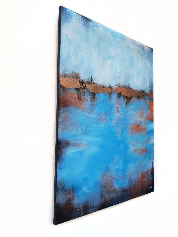 blau Gold abstrak Bild