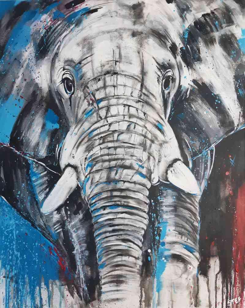Elefant expressives Gemälde von Stefanie Rogge