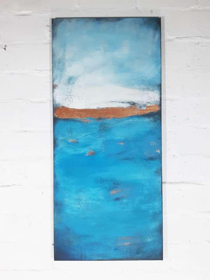 abstraktes wandbild modern blau
