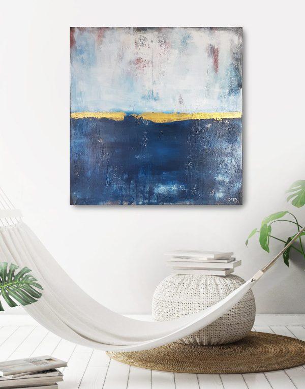 abstrakte Kunst mit Blau und Gold
