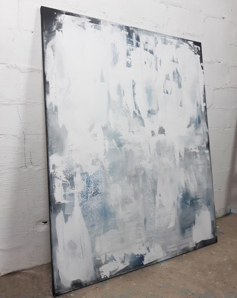 abstraktes Gemälde in Weiß