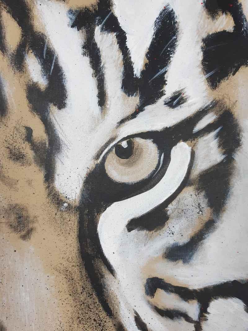 Detail Original Gemälde Tiger von Stefanie Rogge, expressiv, zeitgenössische Malerei
