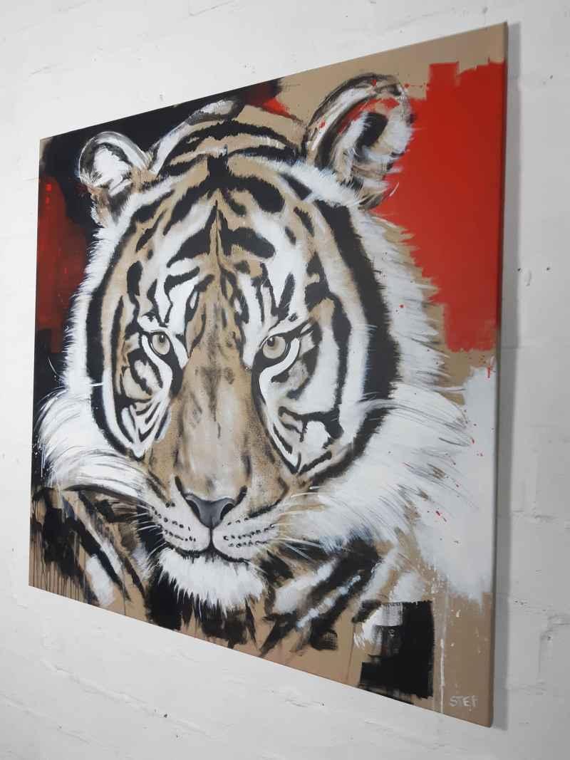 Original Gemälde Tiger von Stefanie Rogge, expressiv, zeitgenössische Malerei