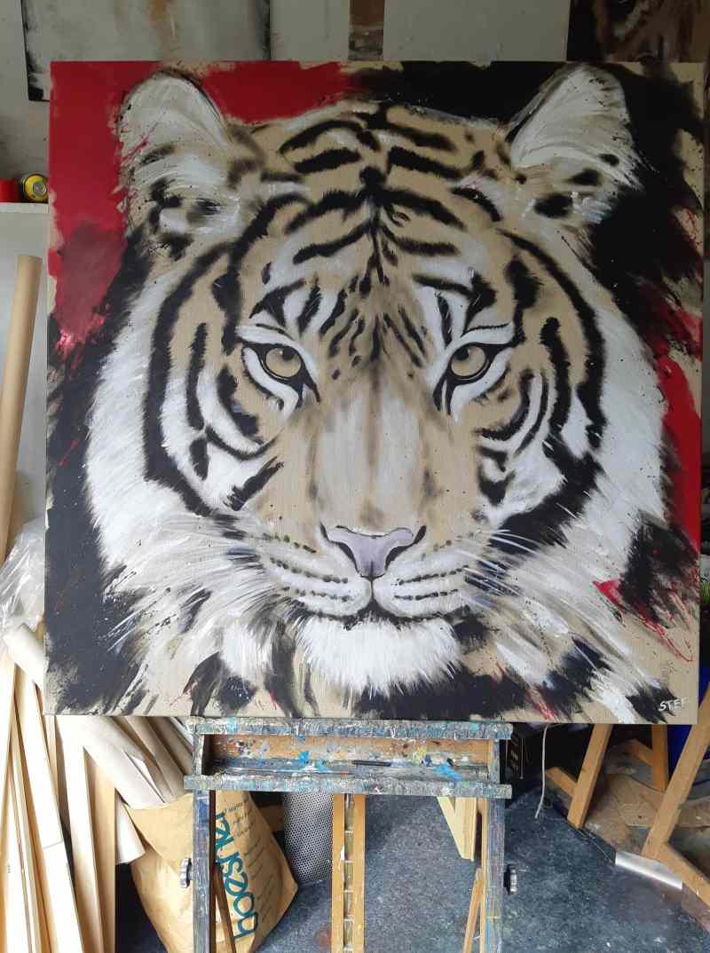 Tiger Gemälde Atelier