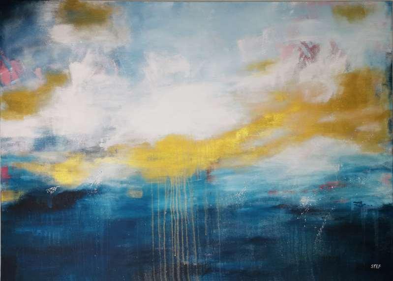 Großes modernes Gemälde in Blau und Gold, Meer, Ozean, maritimes Acrylgemälde von Stefanie Rogge