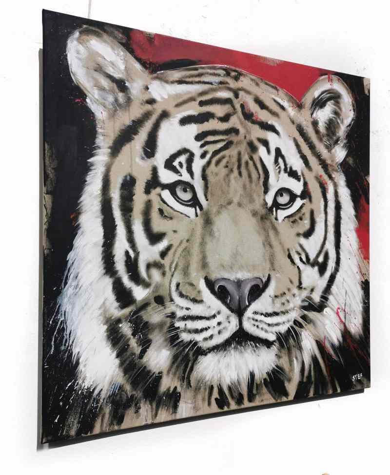 Tiger Gemälde von Stefanie Rogge, direkt im Atelier zu kaufen, Rot und Schwarz