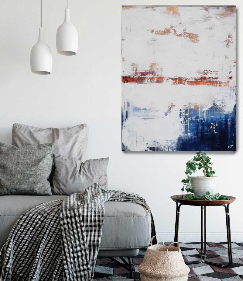 Unikat zeitgenössisches Gemälde, abstraktes modernes Acrylbild von Stefanie Rogge in Weiß, Terrakotta und Tiefblau