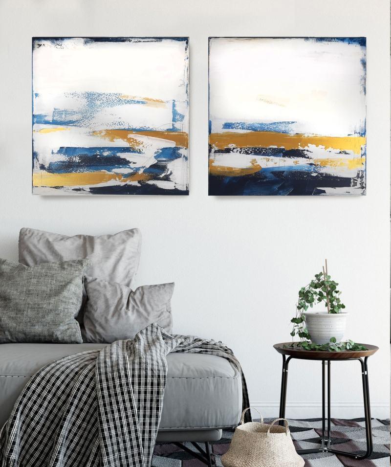 Abstrakte Kunst in Weiß und Blau