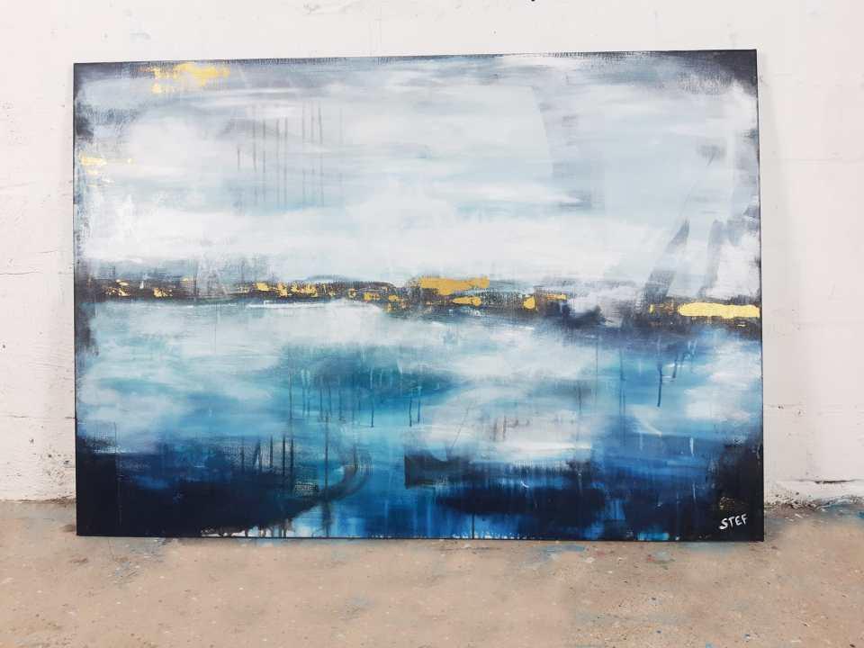 Abstraktes Bild Blau