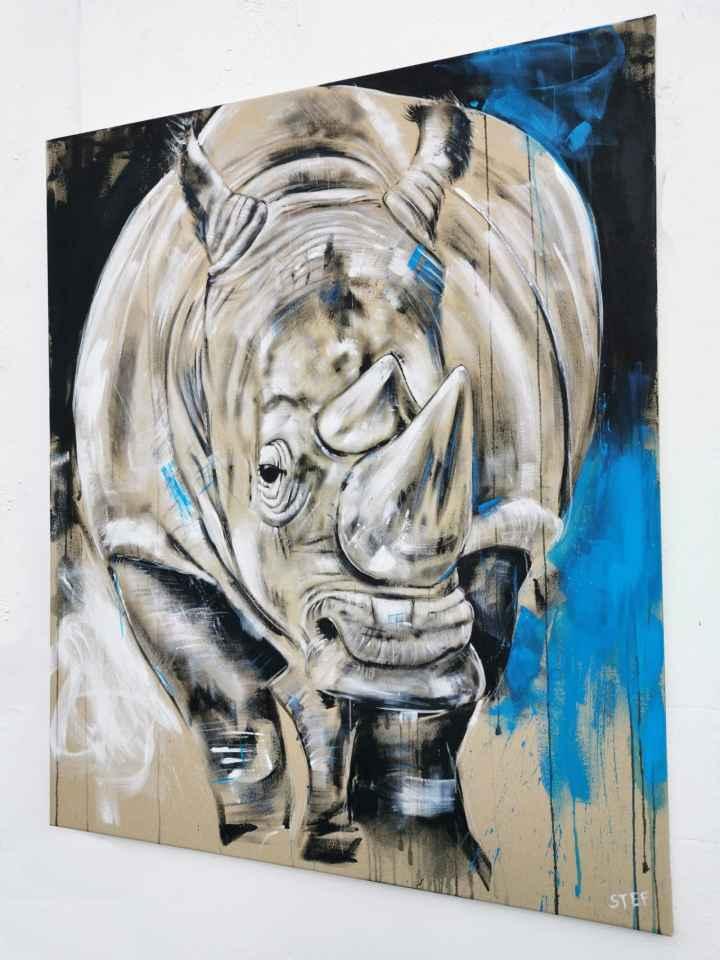 Nashorn Gemälde Original