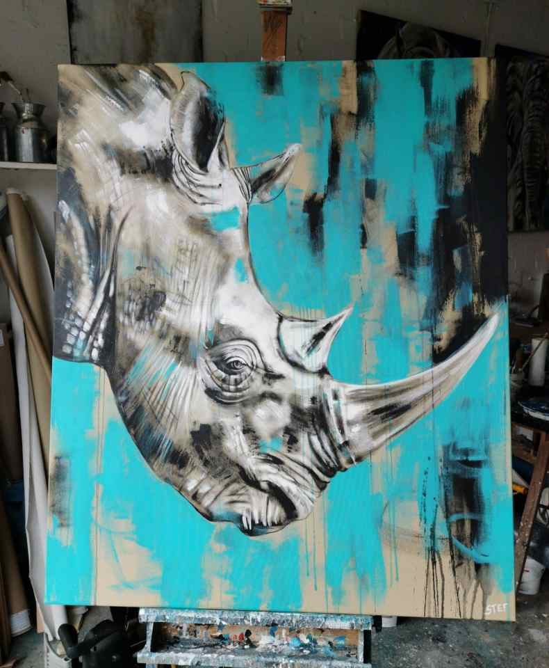 Modern Gemälde Nashorn Türkis