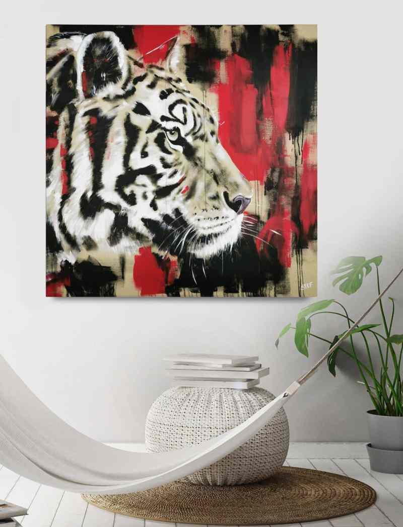 Gemälde Original Wandbild Tiger