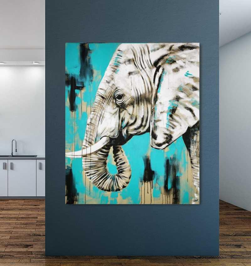 Elefant Gemälde im Raum