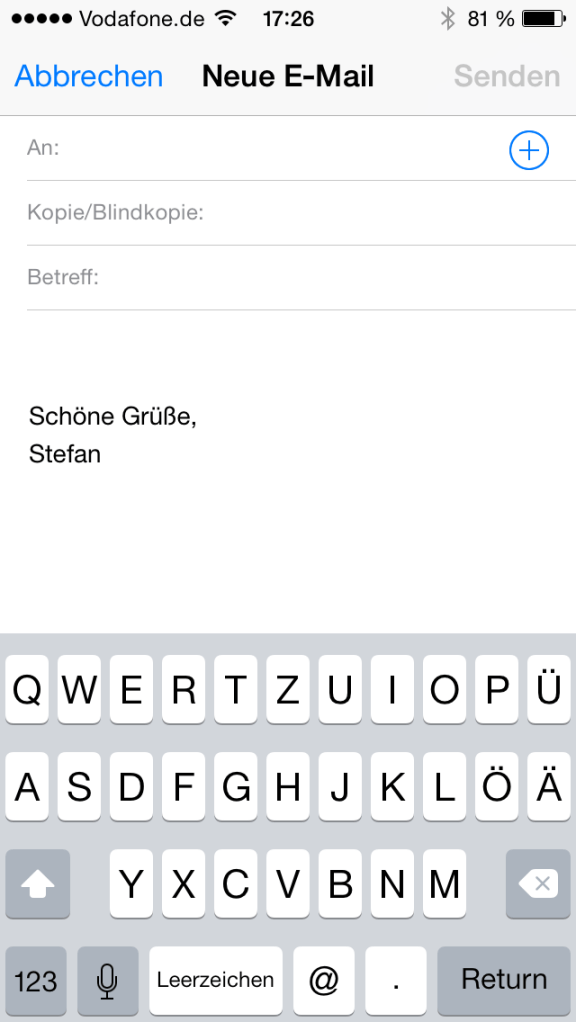 iPhone, E-Mail-Signatur