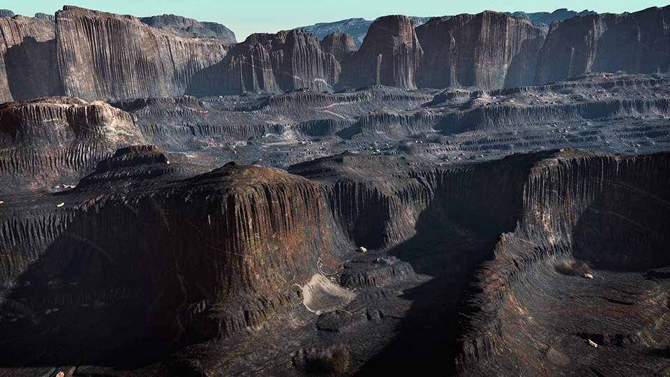 Canyon in stile Utah, deserto americano - 3D