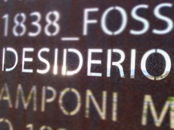 """Scritta """"desiderio"""" dal monumento ai Mille di Marsala"""