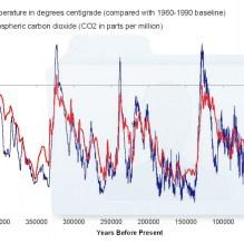 Noti qualcosa a che fare con la foresta? Temperature e CO2, grafici sovrapposti, 800.000 anni
