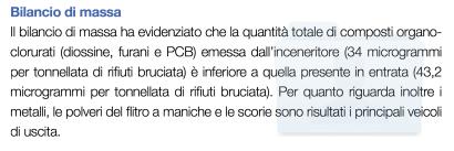 Bilancio di massa (diossine, furani e PCB, dell'inceneritore