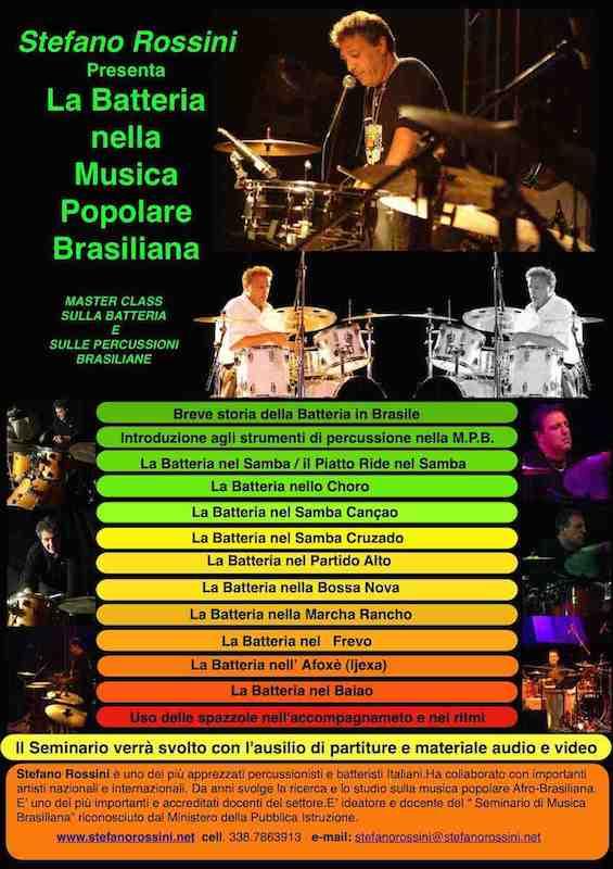 La Batteria nella Musica Popolare Brasiliana...  Stefano Rossini scuola di percussioni Roma