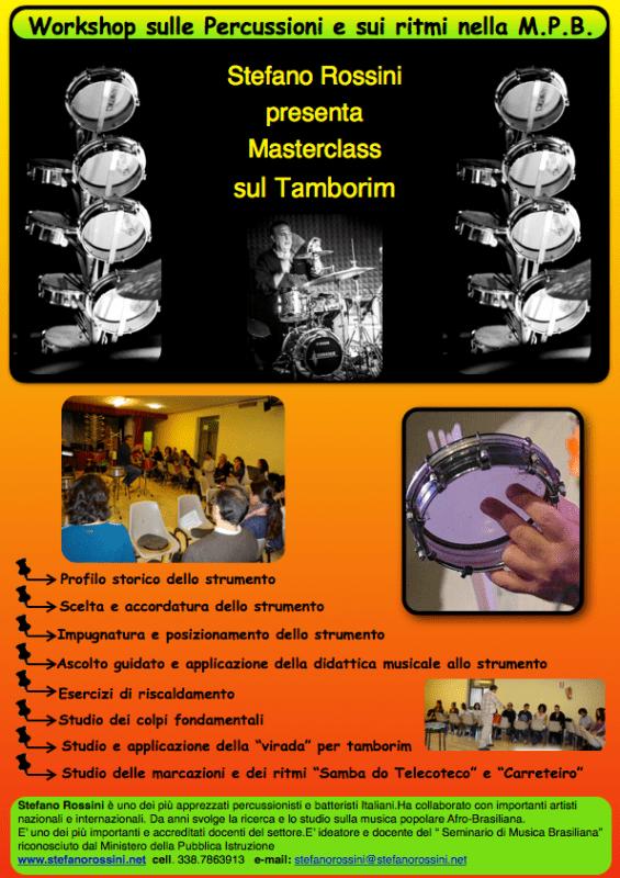 Masterclass sul Tamborim...  Stefano Rossini scuola di percussioni Roma